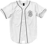 top quality thick 100% polyester white baseball jersey with black piping custom blank baseball jerseys wholesale