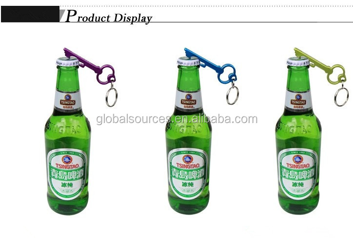 Hot sales aluminum fish bottle opener keychain with laser logo
