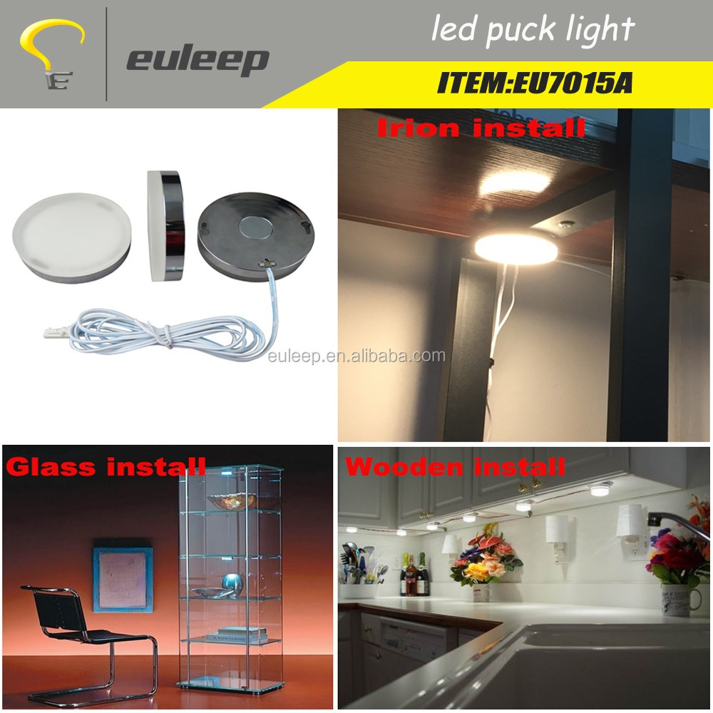 Euleep led puck light 2w 3w ,led cabinet light, under cabinet light,install by magnetic