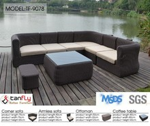6 piece modular sofa rattan reclinable sofa with coffee table and ottoman.