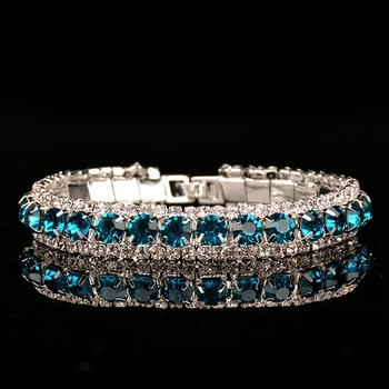 Ladies Wholesale Popular Full Crystal Rhinestones Environmental Copper Iced Out Bracelet Jewelry