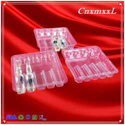 Transparent thermoformed ampoule trays 5 packs Manufactory price plastic vial tray blister