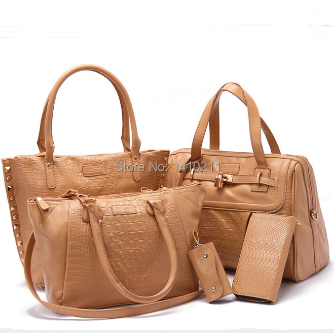 2015 Women Bag Ladies Women Messenger Bags Mulher Leather Handbags Mujer Bolsa Feminina Bolsas Clutch Lnclined Shoulder Bag 4pc