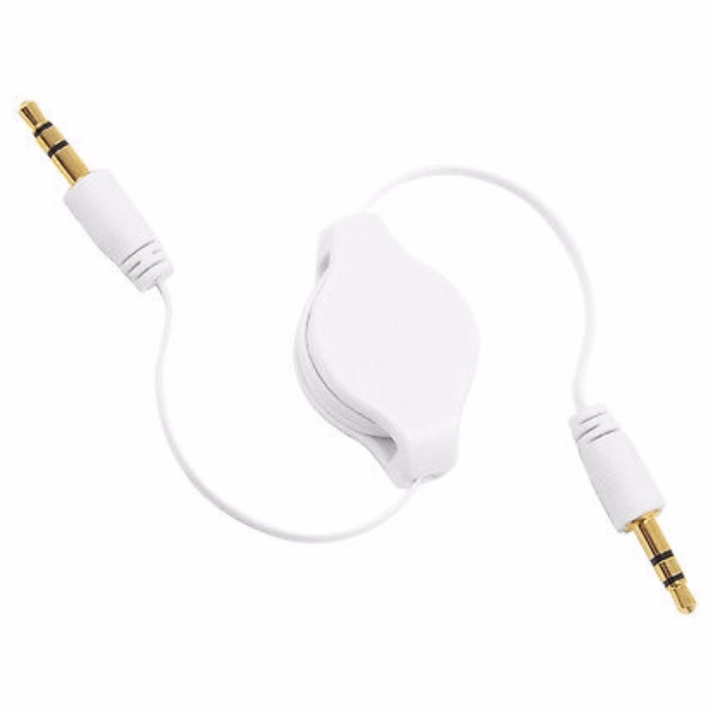 3.5mm Auxiliary Retractable Audio Stereo Jack to Jack Patch Cable AUX Headphone Lead for Car, iPhone, iPod, Android, mp3 players