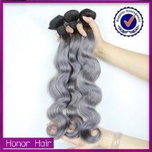 2015 wholesale most fashionable silver gray hair bundle, gray hair weft, gray hair extensions