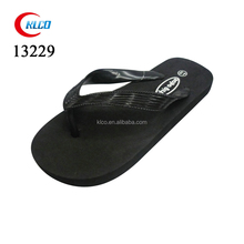 Mens plain black cross grain PVC upper EVA flip flops