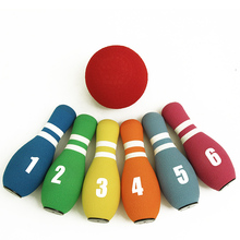 Kids indoor sport toy plastic bowling game set anti stress nbr foam bowling toys