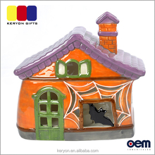 Latest House Shaped Lights Funny Halloween Ceramic Decoration