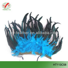 black long tail chicken feather mask with blue turkey feather