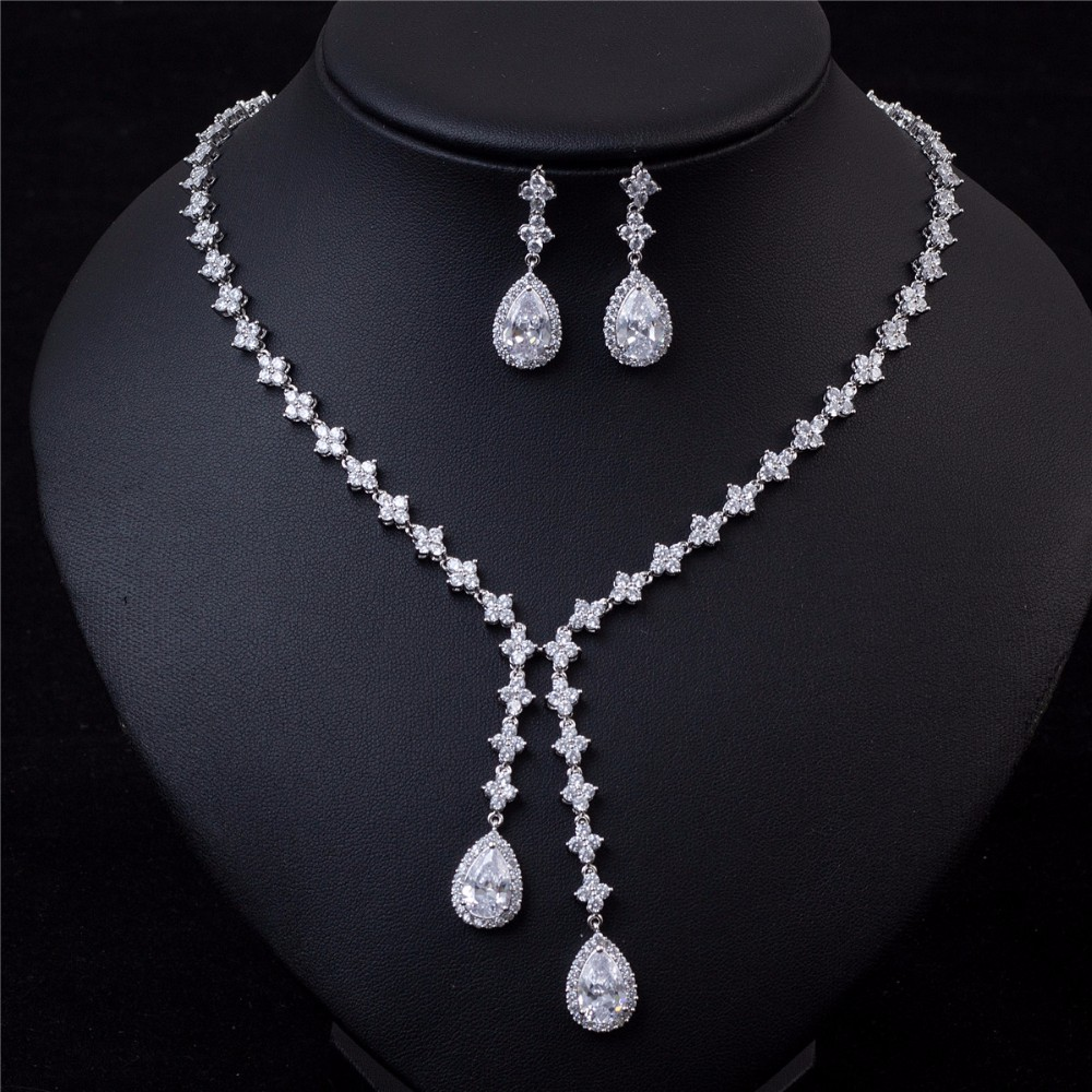 fashion factory custom made cz necklace earrings women bridal rani haar jewelry set