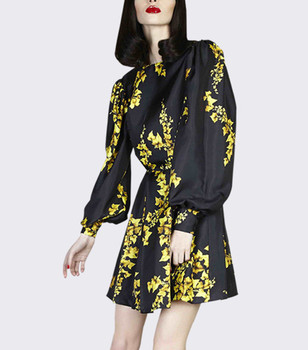 Autumn print round neck batwing long sleeve dress China garment factory