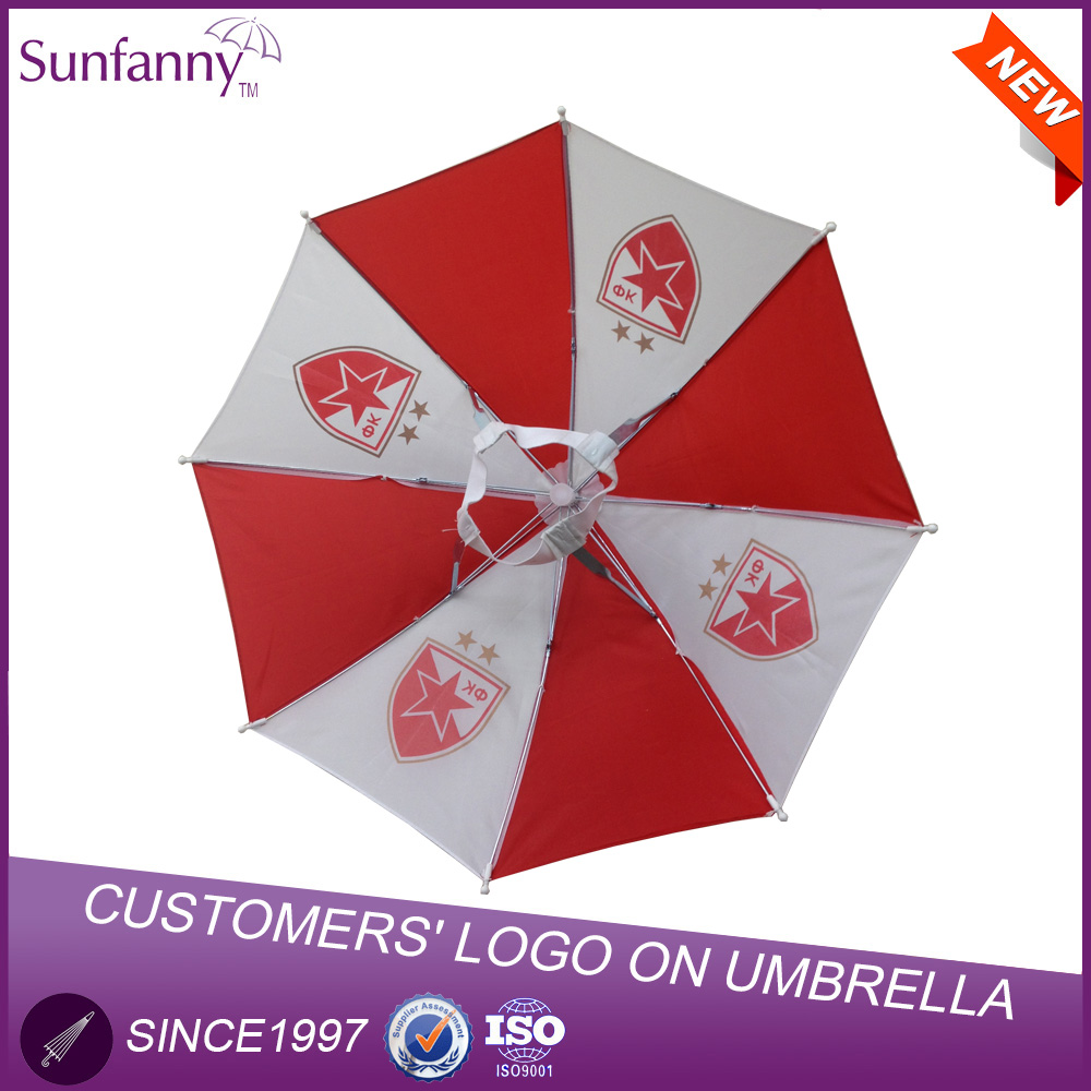 Sunfanny polyester fabric material manul open umbrella small custom logo printed umbrella hat