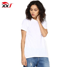 custom pattern clothing korea wholesale ladies organic cotton t-shirt with side splits
