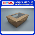 Disposable brown kraft paper fruit&salad packing box with PET windows