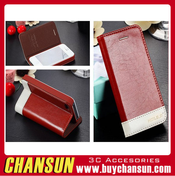 2016 wholesale Double colors flip leather pu case for iPhone5/5s,Flip Cover