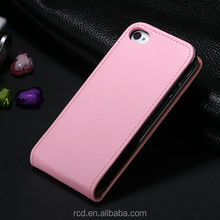 Hot Seller Real Genuine Flip Leather Cover Case for iPhone 4 4S Open Up And Down Korean Style Waterproof Shockproof 4sLcase