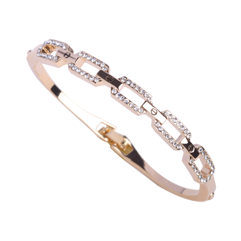 Blucome Fashion Hand Jewelry Link Chain Bangles Crystal Bracelet for Women Girls Brand Bijouterie