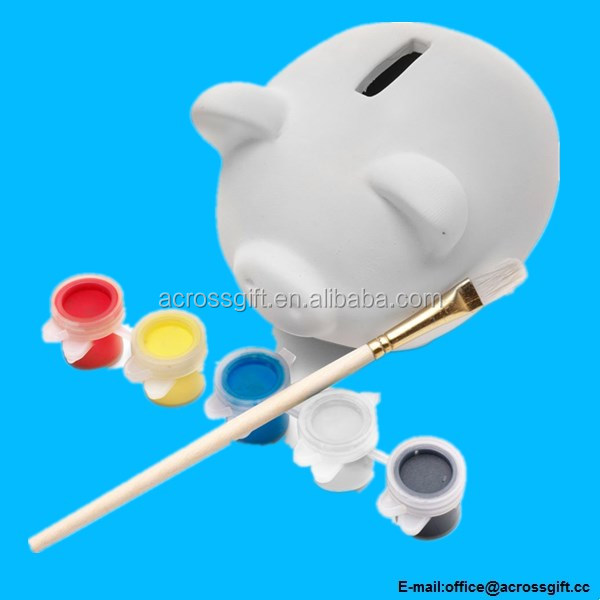 Childrens Paint Your Own Ceramic Pottery Piggy Bank - Christmas Gift Money Box