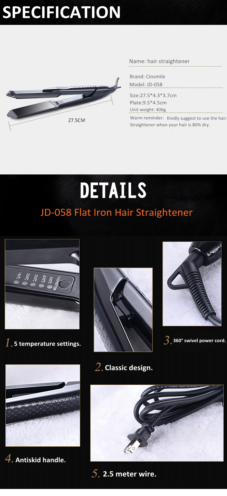 New Products 2018 New Intelligent Titanium 450 Degree Hair Straightener Flat Iron Ceramic Hair Straightening Machine With Logo