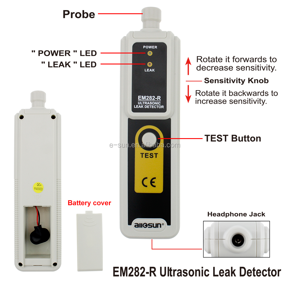 All-Sun EM282 Ultrasonic 40KHz Leak Detector Gas Leak Detector Ultrasonic Relative Humidity<80% Reliable Gas Analyzer