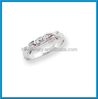 Fashion white gold highly polished AA synthetic diamond ring for women