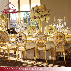 Long chandelier estate glass dining table 6 chairs set in wedding