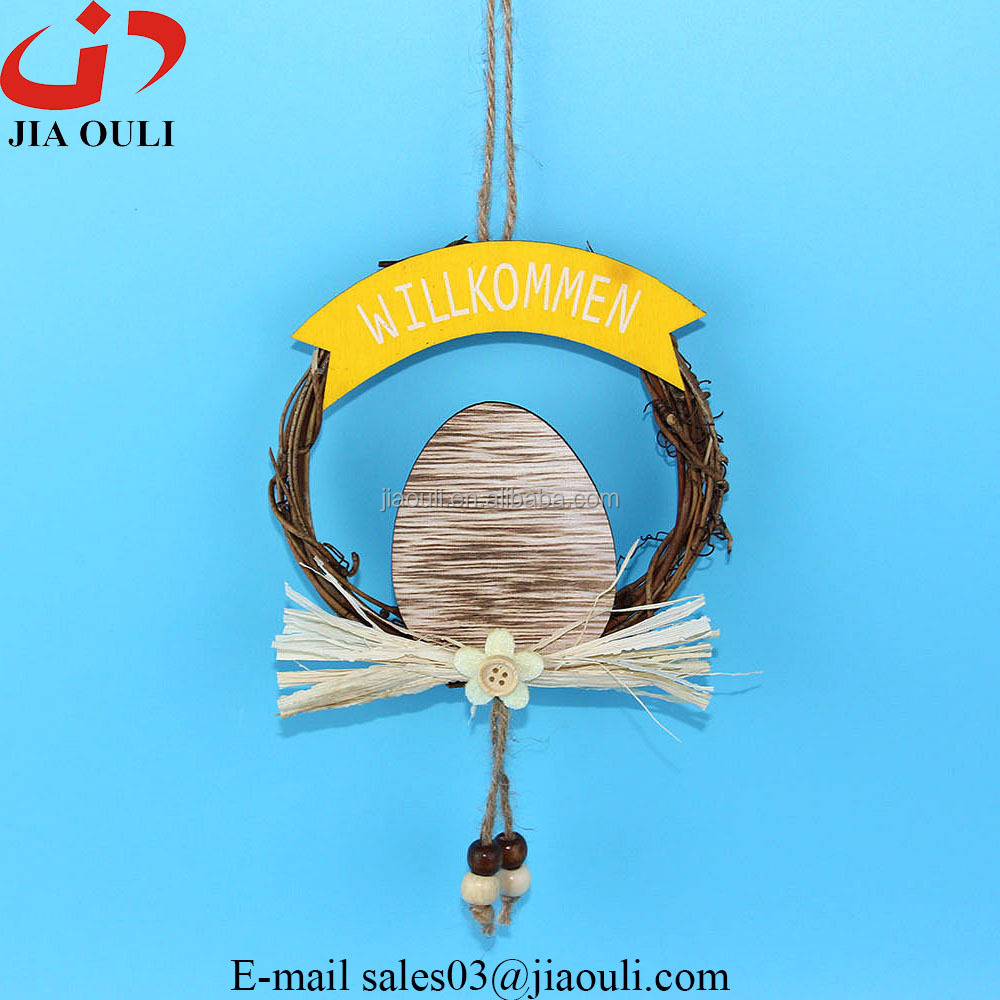 New design with wood egg easter decorations rattan wreath hanger