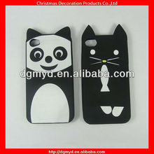 Cute animal shape silicone cell phone cases for Iphone 4 with metal chains (MYD-1543)