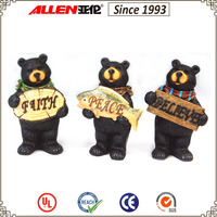 "8.9"" holding wood faith sign resin black bear, holding peace sign resin bear, holding believe sign resin black bear statues"