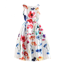 Womens Spring Summer Elegant Vintage Flower Floral Print Charming Casual Party Vestidos White Sleeveless A-line Flared Dresses