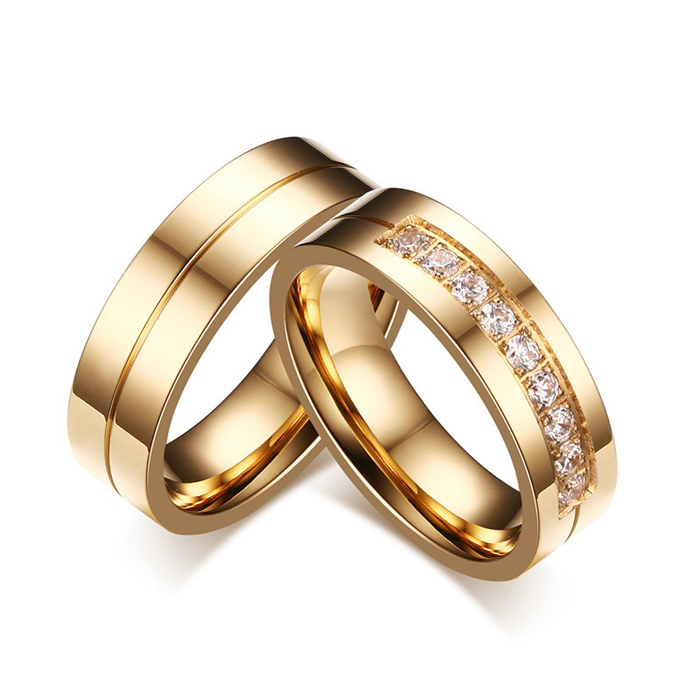 SJ Valentine's Day Gift SJCR-054 (2) Engravable Stainless Steel Round Cubic Zirconia Real Gold Plated Couple Matching Ring