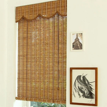 Distressed roll up green bamboo window blind roller blind