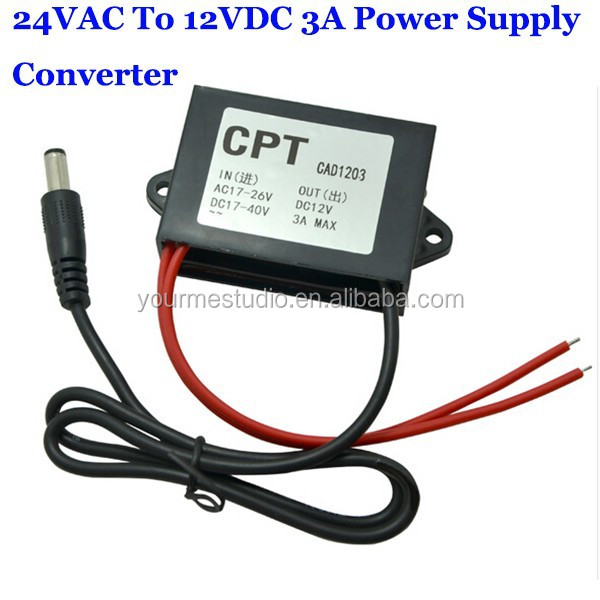 Hot Sales 24VAC Turn 12VDC 3A Security Monitoring AC To DC Power Supply Converter