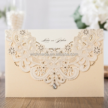 WISHMADE New Inviatation Design Laser Cut Wedding Invitation Card with Gold Hollow Flora Favors, Invitation Kit CW6115