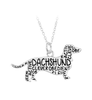 Metal Unique Wholeslae Engraved Message Dachshund Pendant European Style necklace