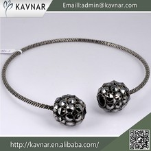 2015 Alibaba Wholesale High Quality Gun Black Plated Double Ball Necklace
