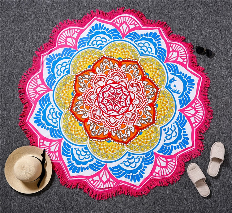 Wholesale Cheap Bulk 100 % Polyester Round Beach Towels Mandala