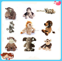 wholesale 2016 Hot sale forest animal cute plush toy for kids tiger lion elephant