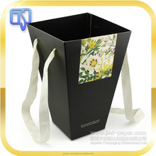 Custom logo printing 400 gsm matt black paper flower box