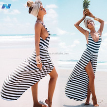 Stylish Lady Women's Fashion Sexy Strap Backless Stripe Slit Maxi Long Full Dress