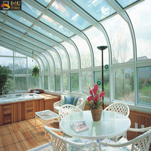 2018 new fashion curved roof glass green house rain decorating sunroom