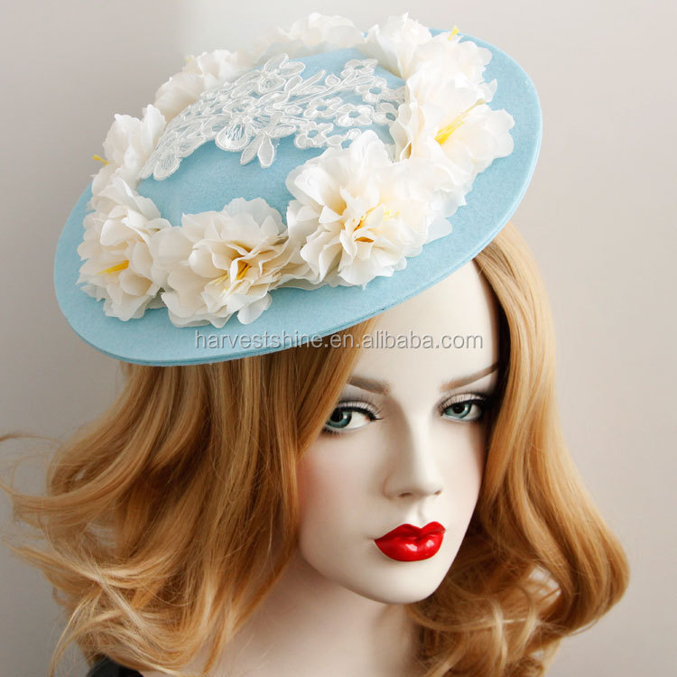Felt Women Hat,Fabric Flower,Ladies Church Hats with Clips