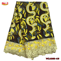 Softtextile Print African Wax Dresses With Lace WL1002