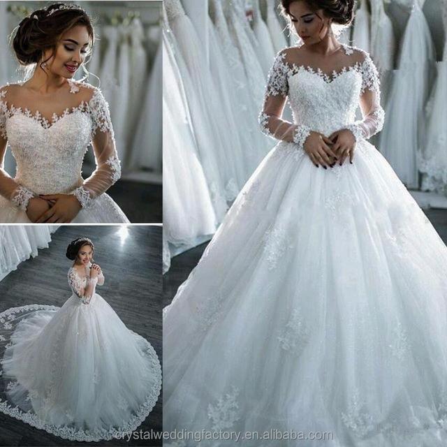 New Arrival Lace Wedding Dress 2017 Romantic Robe De Mariage Vestido De Noiva Sheer Backless Long Sleeve Bride Dresses MW2172