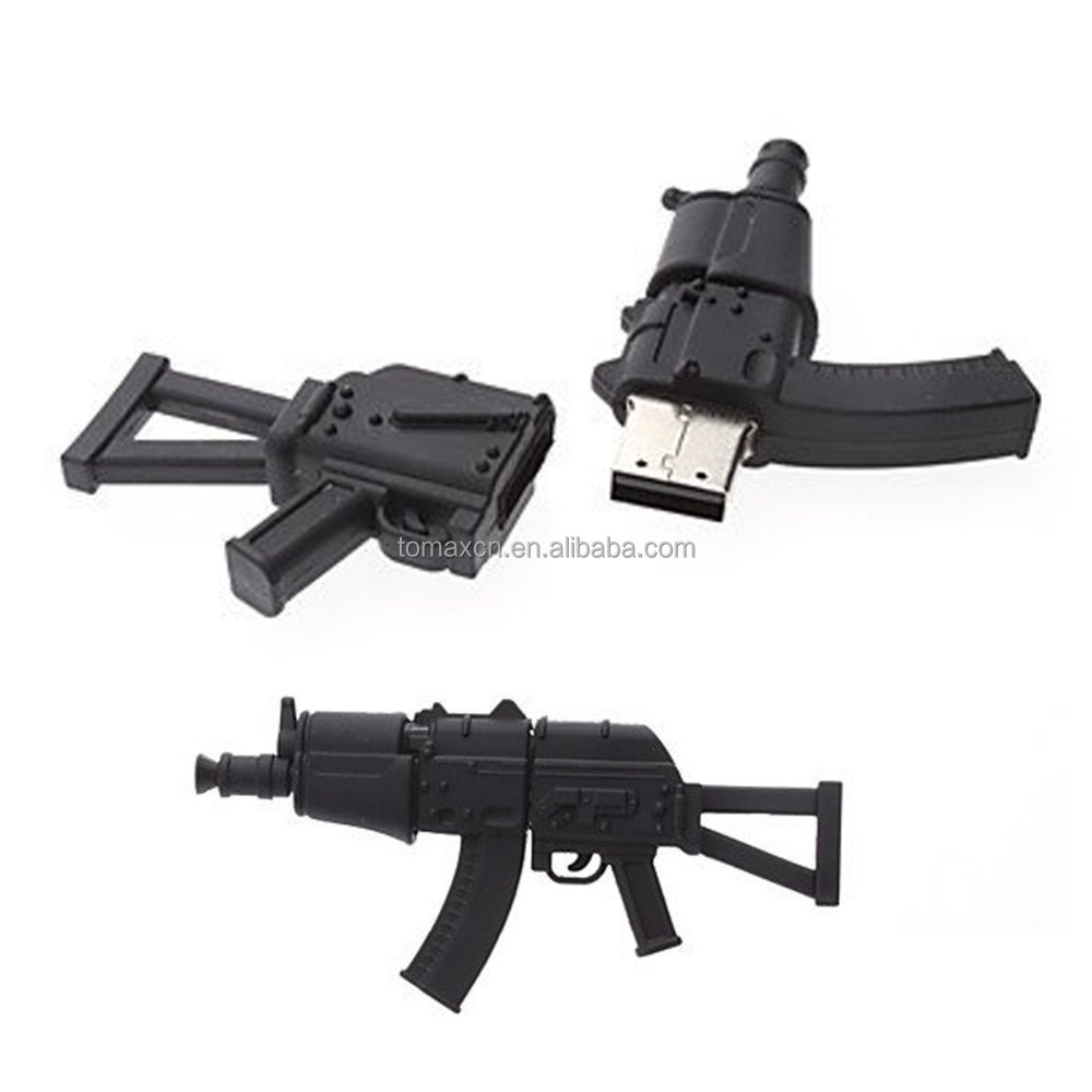 Free shipping real capacity 4G 8G 16G 32G 64G Balck AK47 pistol USB flash drive PVC cartoon Pen drive