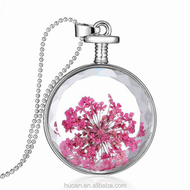 2015 New Design!!! Really dried flowers Be wild with joy plant Necklace