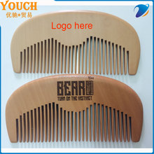 High quality peach wooden material comb polish beard comb hair wood comb stock supplier