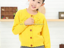 crew neck buttoned long sleeve knit sweater for young girls