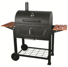 outdoor bbq charcoal grill with 2 side wood table for germany