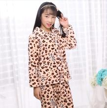 Leopard printed soft warm pajamas set kids in winter good sales
